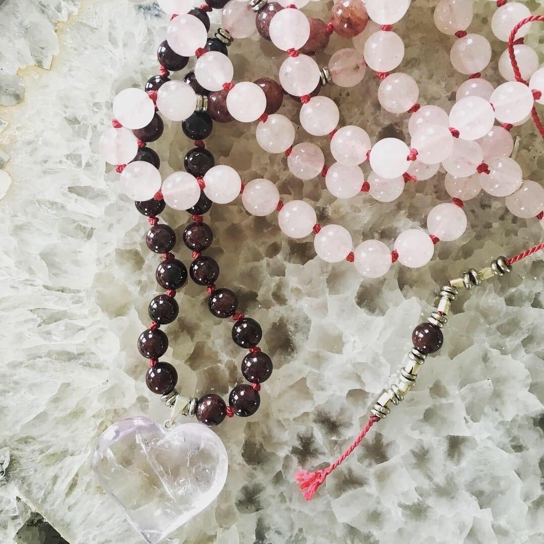 rose quartz-garnet-amethyst-mala